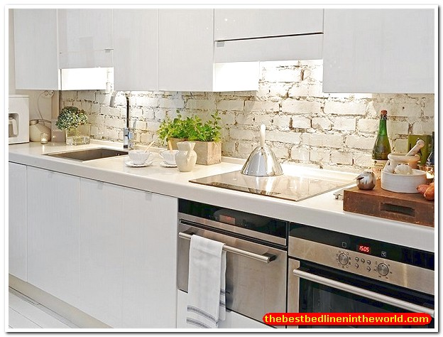 Kitchen Open Shelving In Kitchen With Brick Built In Kitchen With Kitchen With Brick Backsplash Ideas